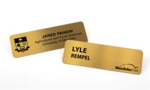 "1"" x 3"" Brass Name Tag with Pin Back"