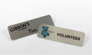 "3"" x 1"" Silver Aluminum Name Tag with Pin Back"