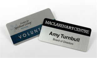 "3"" x 1 1/2"" Silver Aluminum Name Tag with Magnetic Back"