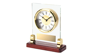 Glass Mounted Clock with Rosewood Base