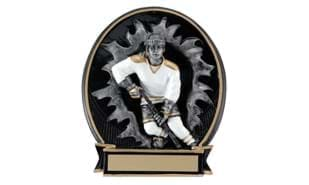 "5 1/4"" Busting Through Female  Hockey Stand-up Sculpture"