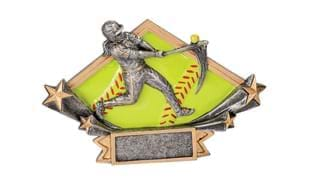 "4 1/4"" Full Colour Diamond Star Female Baseball Sculpture"