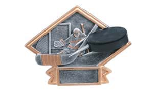 "4 1/2"" x 6 inch Pewter and Gold Hockey Action Sculpture Platter"