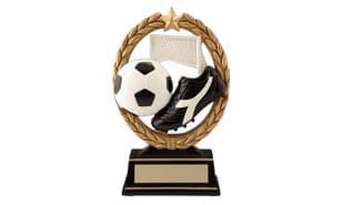 "6 1/4"" Gold Wreath Soccer Sculpture"