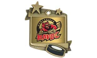 "1 3/4"" x 2 1/4"" Stardust Hockey Medallion"