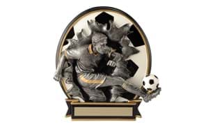 "6 1/4"" Busting Through Male Soccer Stand-up Sculpture"
