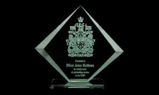 Acadian Series Jade Glass Award: 7 1/4""