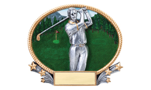 3D Full Color Male Golfer Oval Plate