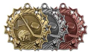 "2 1/4"" Ten Star Hockey Medallion"