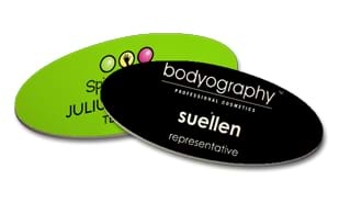 "3"" x 1-1/2"" Ultrawhite OVAL Name Tag with Magnetic Back"