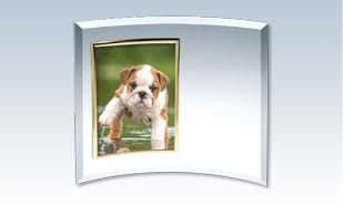 "12"" x 16"" Crescent Glass Award with Gold Photo Frame"