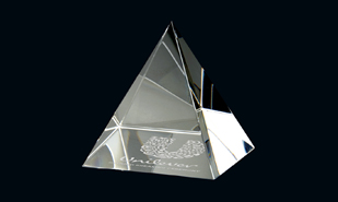 "2-3/4"" x 3"" Pyramid Series Optic Crystal Paperweight"