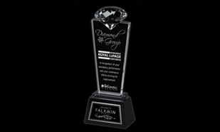 "10-1/4"" Solitaire Series Glass Award"