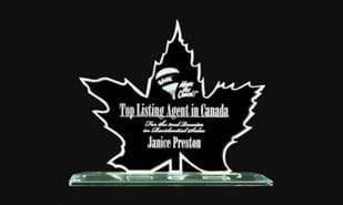 "Maple Leaf Jade Glass Award: 7"" x 6"""