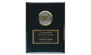 "8"" x 10"" Black Piano Finish Plaque with Clock"