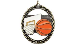 Basketball Negative Space Full Colour Medallion 2 3/4 inch high