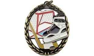 "2 3/4"" Negative Space Full Colour Hockey Medallion"