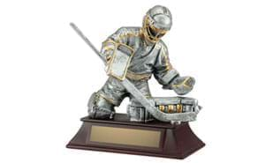 "6"" Pewter and Gold Hockey Goalie Sculpture"