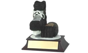 "4"" Hockey Skate and Glove Sculpture"