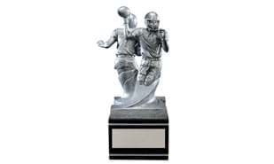 """Back-to-Back"" Football Sculpture"