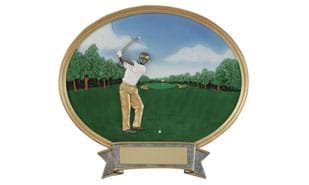 Male Golf Oval Sculpture - Small