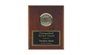 "8"" x 10"" Rosewood Piano Finish Plaque with Clock"