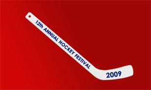 Plastic White Mini Hockey Stick - 1C Imprint